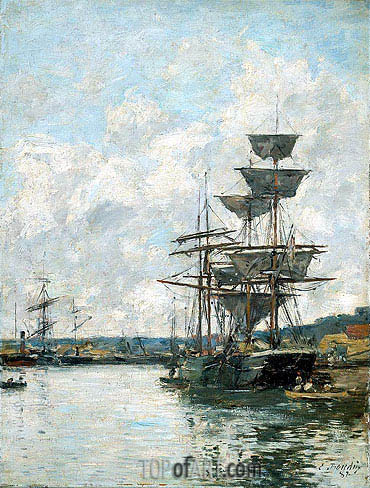 Ships at Le Havre, 1887 | Eugene Boudin | Painting Reproduction
