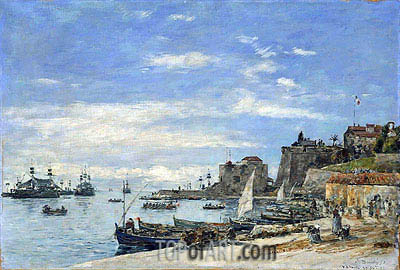 Quay at Villefranche, 1892 | Eugene Boudin | Painting Reproduction