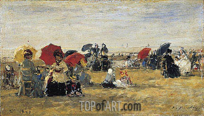 Beach Scene at Trouville, 1880 | Eugene Boudin | Painting Reproduction