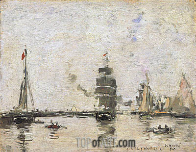 Boats in Trouville Harbor, 1894 | Eugene Boudin | Gemälde Reproduktion