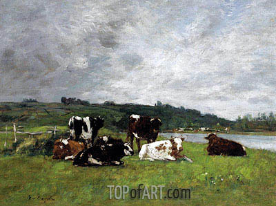 Cows in the Pasture, c.1880/85 | Eugene Boudin | Gemälde Reproduktion