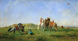 Hunting with Falcons in Algeria, 1862 von Eugene Fromentin | Gemälde-Reproduktion
