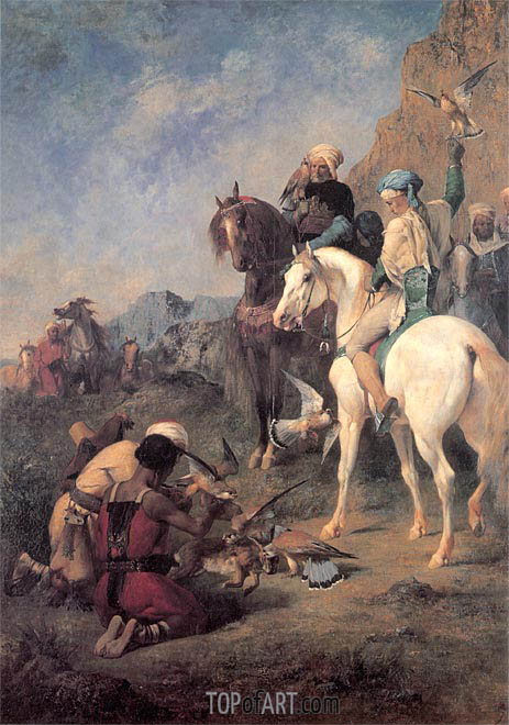 Falcon Hunting in Algeria (The Quarry), 1862 | Eugene Fromentin | Painting Reproduction