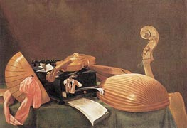 Still-life with Musical Instruments, c.1650 by Baschenis | Painting Reproduction
