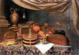 A Guitar, a Cello, Lutes, a Musical Score and Other Books and an Armillary Globe on a Draped Table | Baschenis | Painting Reproduction