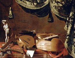 Still Life with Musical Instruments and a Statuette | Baschenis | Painting Reproduction
