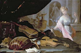 Still Life of Musical Instruments, with a Female Figure | Baschenis | Painting Reproduction