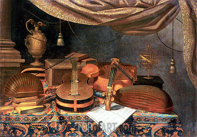 A Guitar, a Cello, Lutes, a Musical Score and Other Books and an Armillary Globe on a Draped Table, undated | Baschenis | Painting Reproduction