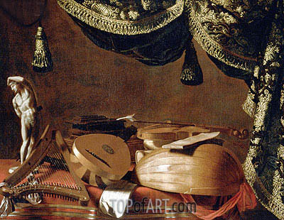 Still Life with Musical Instruments and a Statuette, c.1660 | Baschenis | Gemälde Reproduktion