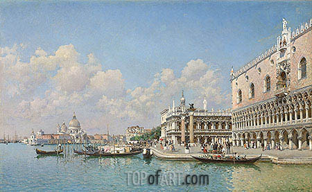 View towards the Doge's Palace and Santa Maria della Salute, undated | Federico del Campo | Painting Reproduction