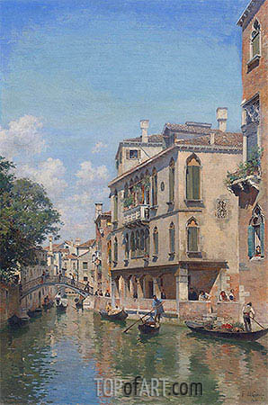 A Busy Day on a Venetian Canal, 1910 | Federico del Campo | Painting Reproduction