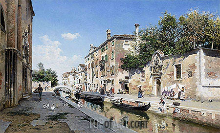 Canale san Giuseppe, Venice, undated   Federico del Campo   Painting Reproduction