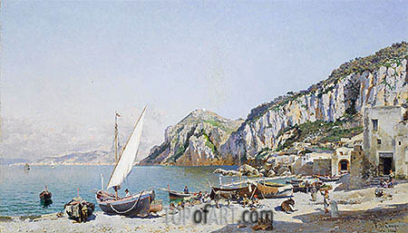 Beach at Capri, 1884 | Federico del Campo | Painting Reproduction