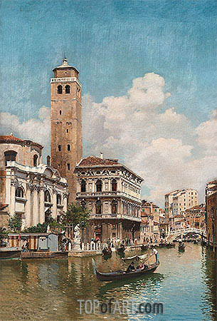 Gondolas on a Venetian Canal, 1905 | Federico del Campo | Painting Reproduction