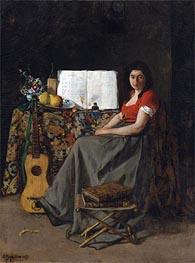 The Guitar Player, 1865 by Ferdinand Victor Leon Roybet | Painting Reproduction