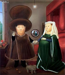 The Arnolfini Marriage (after van Eyck) | Fernando Botero | Painting Reproduction