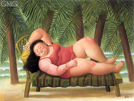 Bather on the Beach, 2001   Botero   Painting Reproduction