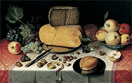 Still Life with Fruit, Nuts and Cheese | Floris van Dijck | Painting Reproduction