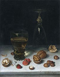 Still Life with Walnuts, Hazelnuts and Strawberries | Floris van Dijck | Painting Reproduction