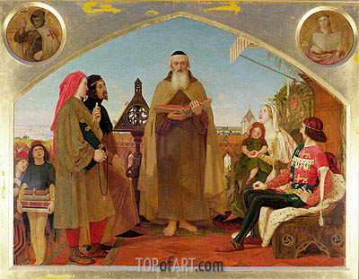 John Wycliffe Reading his Translation of the Bible to John of Gaunt, c.1847/48 | Ford Madox Brown | Gemälde Reproduktion