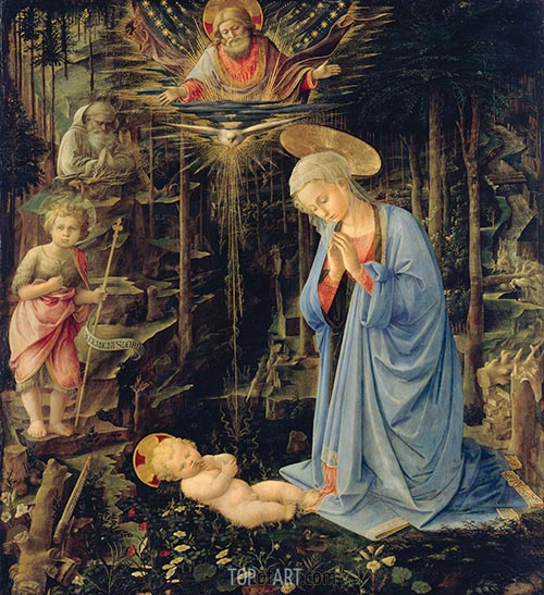 The Adoration in the Forest, 1459 | Fra Filippo Lippi | Painting Reproduction