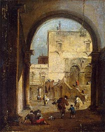 Venetian Capriccio: View of a Square and a Palace, c.1775/80 by Francesco Guardi | Painting Reproduction