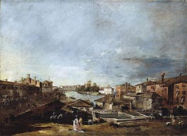 View of Dolo on the Brenta, c.1774/76 by Francesco Guardi | Painting Reproduction