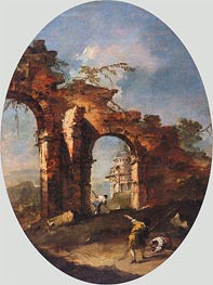 Landscape Capriccio with Figures, undated by Francesco Guardi | Painting Reproduction