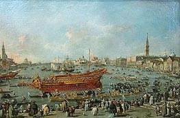 The Bucentaur Departs for the Lido of Venice, on Ascension Day | Francesco Guardi | Gemälde Reproduktion