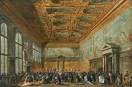 The Doge of Venice Grants an Audience in the Sala del Collegio in the Ducal Palace | Francesco Guardi | Gemälde Reproduktion