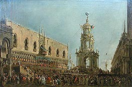 The Doge in the Shrove Tuesday Festival on the Piazzetta, Venice | Francesco Guardi | Gemälde Reproduktion