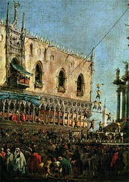 The Doge in the Shrove Tuesday Festival on the Piazzetta, Venice (detail) | Francesco Guardi | Gemälde Reproduktion