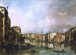 View up the Grand Canal Toward the Rialto, c.1785 by Francesco Guardi | Painting Reproduction