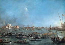 Procession of Gondolas in the Bacino di San Marco | Francesco Guardi | Painting Reproduction