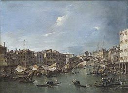 Grand Canal with the Rialto Bridge, Venice, c.1780 by Francesco Guardi | Painting Reproduction