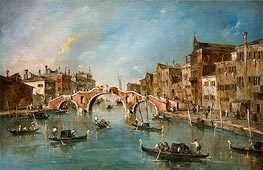 View on the Cannaregio Canal, Venice, c.1775/80 by Francesco Guardi | Painting Reproduction