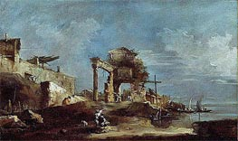 Capriccio, a.1770 by Francesco Guardi | Painting Reproduction