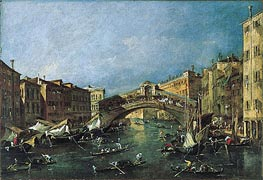 View of the Rialto, Venice from the Grand Canal | Francesco Guardi | Gemälde Reproduktion