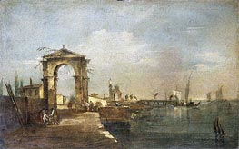 Landscape with a Wharf, Venice, undated by Francesco Guardi | Painting Reproduction