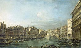 Regatta at the Grand Canal at the Rialto Bridge in Venice, c.1780/93 by Francesco Guardi | Painting Reproduction