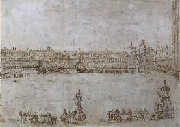 A Procession of Triumphal Cars in Piazza San Marco, Venice, Celebrating the Visit of Archduke Paul and Archduchess Maria Feodorovna of Russia, 1782 by Francesco Guardi | Painting Reproduction