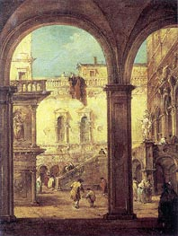 Capriccio with the courtyard of the Doge's Palace | Francesco Guardi | Painting Reproduction