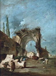 A Capriccio of Buildings on the Laguna with Figures by a Ruined Arch, c.1778/80 by Francesco Guardi | Painting Reproduction