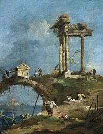 A Capriccio View of a Ruined Temple near a Bridge | Francesco Guardi | Painting Reproduction