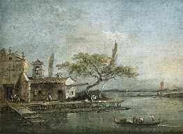 A View of the Island of Anconetta with the Torre di Marghera Beyond | Francesco Guardi | Painting Reproduction