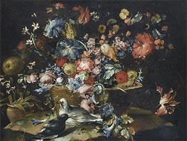 A Still Life with Various Flowers in a Basket, Together with Two Doves in Landscape | Francesco Guardi | Painting Reproduction