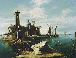 A Capriccio of a Venetian Lagoon with Fishermen in Gondolas | Francesco Guardi | Painting Reproduction