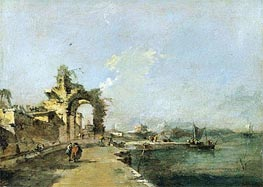 A Venetian Capriccio of the Lagoon with Figures and a Ruined Arch Beyond, c.1775/80 by Francesco Guardi | Painting Reproduction