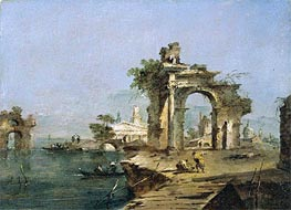 A Venetian Capriccio with Figures by the Lagoon a Ruined Arch and Temple Beyond, c.1775/80 by Francesco Guardi | Painting Reproduction