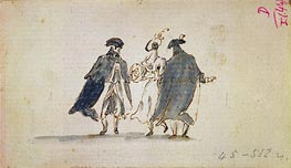 Three Masked Figures in Carnival Costume, c.1775/80 by Francesco Guardi | Painting Reproduction